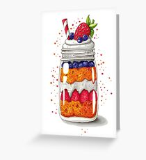 Strawberry and Blueberry shortcake in a jar Greeting Card