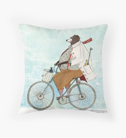 Bikerbaer Throw Pillow
