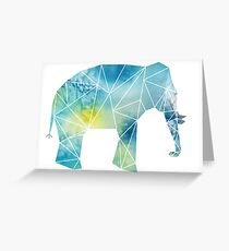 Blue and Green Watercolor Geometric Elephant Greeting Card