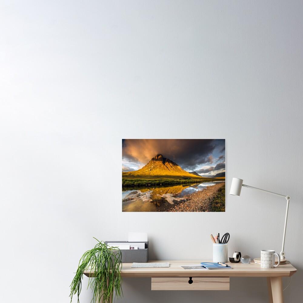 Golden light on Buachaille Etive Mor Scotland Poster
