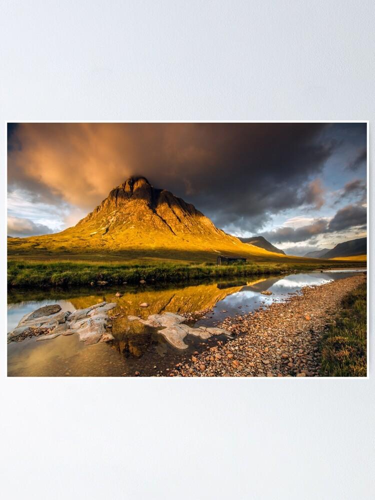 Alternate view of Golden light on Buachaille Etive Mor Scotland Poster