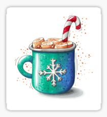 Christmas mug with hot chocolate and marshmallows Sticker