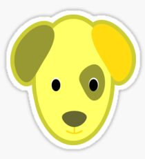 Golden Cartoon Puppy Dog Face Sticker