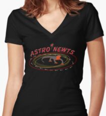 Astro Newts Women's Fitted V-Neck T-Shirt