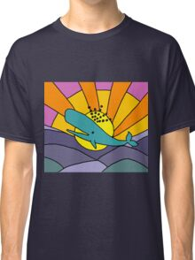 Cool Funky Whale and Sun Abstract Art Classic T-Shirt