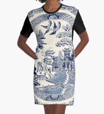 China Blue Willow Graphic T-Shirt Dress