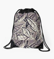 Black & White Leaves Drawstring Bag