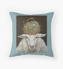 Judith the Sheep with nest Throw Pillow