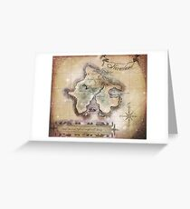 Classic Neverland Map Blanket King Size Greeting Card