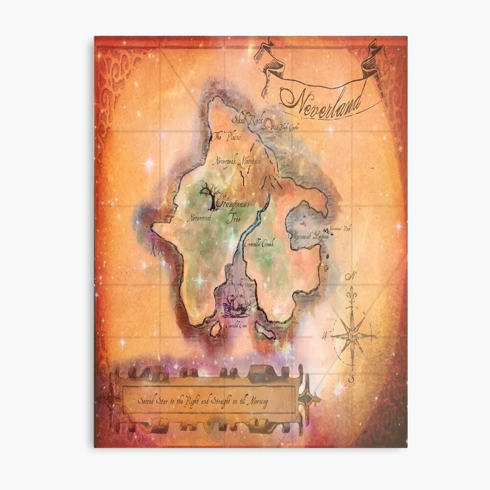 Mapa de Twin Size Neverland Lámina metálica