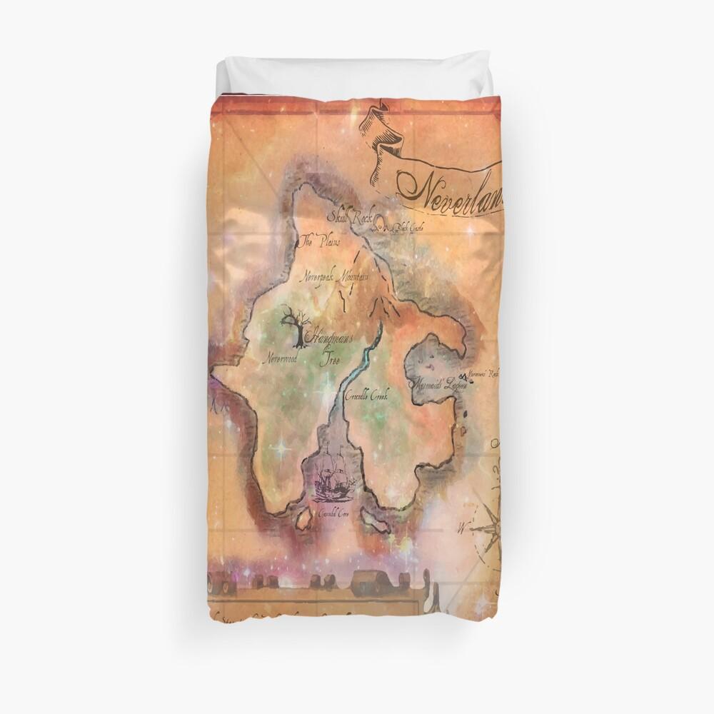 Twin Size Neverland Karte Bettbezug