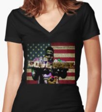 ODE TO Radio Raheem Women's Fitted V-Neck T-Shirt