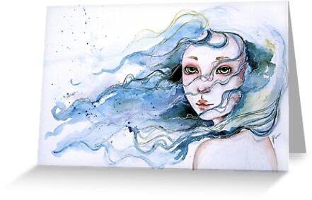 """""""Lily"""" Surreal Watercolor Portrait by Juliette Vaissiere"""