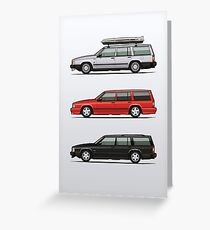 Volvo 740 745 Turbo Wagon Trio Greeting Card