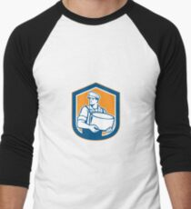 Cheesemaker Holding Parmesan Cheese Retro Men's Baseball ¾ T-Shirt