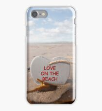 wooden love on the beach heart in the golden sand iPhone Case/Skin