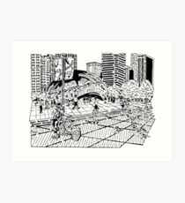Cloud Gate Maze (The Bean) Art Print