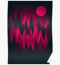 Dark Triangles (Peak Woods) Abstract Grunge Mountains Design (red/black) Poster