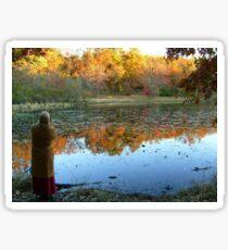 Fall Scenics over the Lake, Garrett Mountain Reservation, Woodland Park, Passaic County NJ Sticker