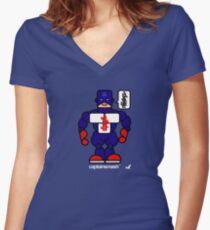 AFR Superheroes #03 - Captain Smash Women's Fitted V-Neck T-Shirt