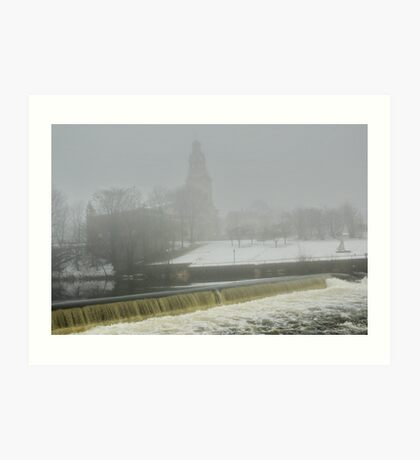 Slater Mill Dam in Winter Art Print