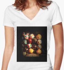 Gumball Machine in Shadow - Series - Hi-Bounce Balls - Iconic New York City Women's Fitted V-Neck T-Shirt