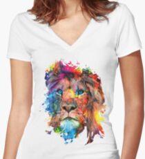 Löwe Shirt mit V-Ausschnitt