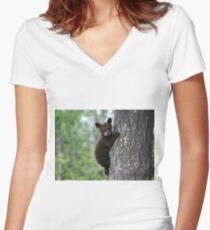 Bear Cub Climbing a Tree Women's Fitted V-Neck T-Shirt