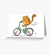 Funny cat on bicycle and mouse Greeting Card