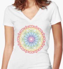 Rainbow Ombre Mandala Women's Fitted V-Neck T-Shirt