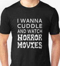 Camiseta unisex Quiero abrazar y ver películas de terror