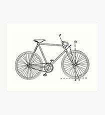 Bicycle blueprint wall art redbubble bicycle blueprint art print malvernweather Images