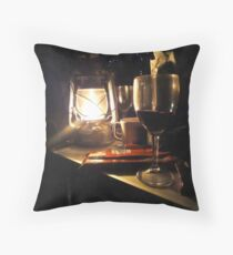 Chocolate and Wine Camping Throw Pillow