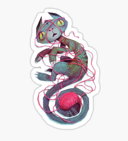 cat + thread Sticker
