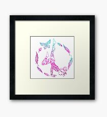 yoga girl with feathers and butterfly mandala 2 Framed Print