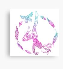 yoga girl with feathers and butterfly mandala 2 Canvas Print
