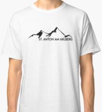 SKIING SAINT ANTON AM ARLBERG Ski Mountain Mountains Skis Silhouette Snowboard Snowboarding Classic T-Shirt