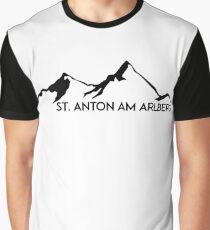 SKIING SAINT ANTON AM ARLBERG Ski Mountain Mountains Skis Silhouette Snowboard Snowboarding Graphic T-Shirt