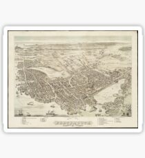 Vintage Pictorial Map of Portsmouth NH (1877) Sticker