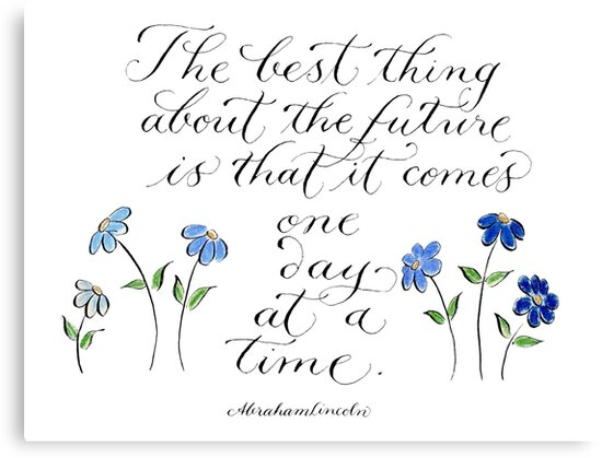 One Day At A Time Inspirational Handwritten Quote Canvas Prints By