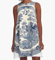China Blue Willow A-Line Dress