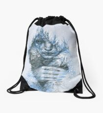 Frost forest fairy under the snow Drawstring Bag