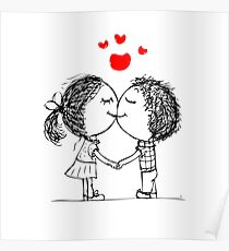 Couple in love together, valentine sketch for your design Poster