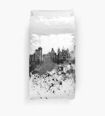 Philadelphia skyline in black watercolor Duvet Cover