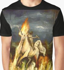 Smoking monocled cat with a top hat riding a flaming unicorn Graphic T-Shirt