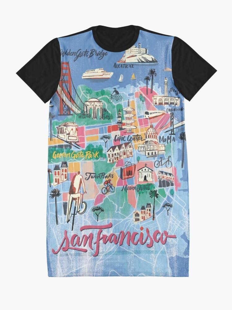 Alternative Ansicht von San Francisco illustrierte Karte T-Shirt Kleid