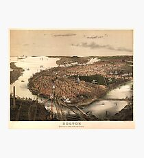 Vintage Pictorial Map of Boston (1877) Photographic Print