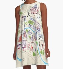 Paris illustrated Map A-Line Dress
