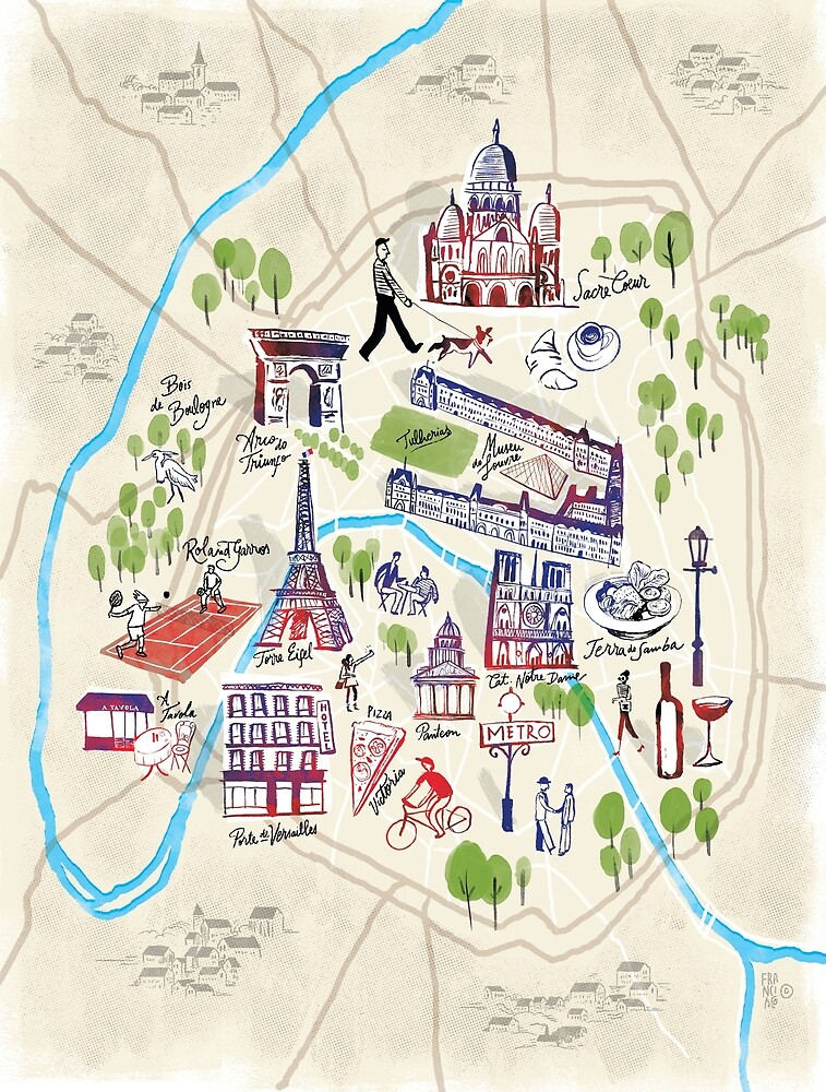 Paris illustrated Map by Francisco Martins