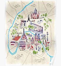 Paris illustrated Map Poster
